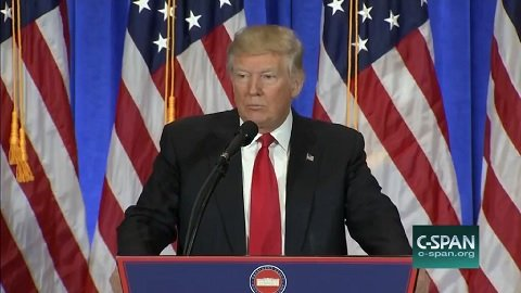 Screen capture of President-elect Donald Trump's first press conference since winning the November 8 elections - as viewed from CSPAN.